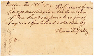 PRESIDENT GEORGE WASHINGTON - AUTOGRAPH DOCUMENT SIGNED IN TEXT 12/23/1774