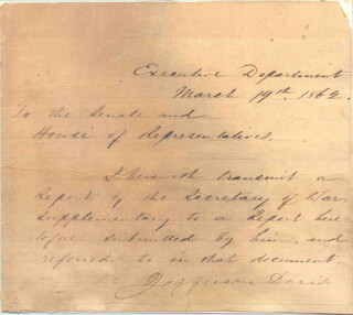 PRESIDENT JEFFERSON DAVIS (CONFEDERATE STATES OF AMERICA) - MANUSCRIPT LETTER SIGNED 03/19/1862