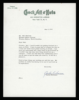 JACKIE ROBINSON - TYPED LETTER SIGNED 05/01/1957