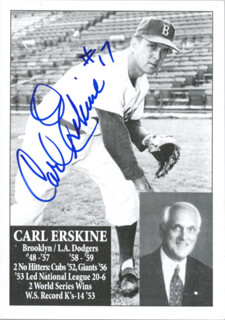 CARL ERSKINE - TRADING/SPORTS CARD SIGNED
