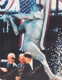 THE NEW YORK YANKEES - AUTOGRAPHED SIGNED PHOTOGRAPH CO-SIGNED BY: YOGI BERRA, WHITEY FORD, TONY KUBEK