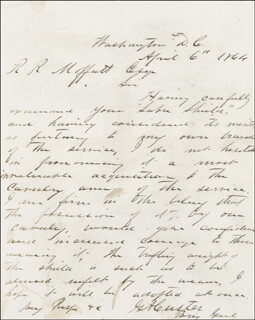 MAJOR GENERAL GEORGE ARMSTRONG CUSTER - AUTOGRAPH LETTER SIGNED 04/06/1864