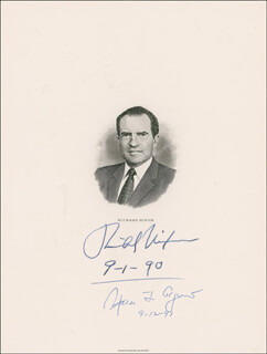 PRESIDENT RICHARD M. NIXON - ENGRAVING SIGNED 09/01/1990 CO-SIGNED BY: VICE PRESIDENT SPIRO T. AGNEW