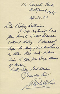GEORGE ARLISS - AUTOGRAPH LETTER SIGNED 04/20/1929
