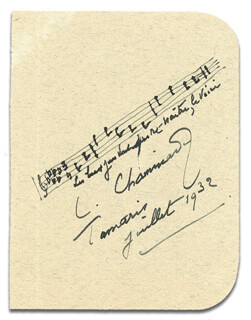 CECILE CHAMINADE - MUSICAL QUOTATION SIGNED 7/1932