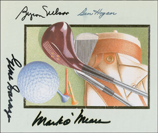 BEN HOGAN - PRINTED CARD SIGNED IN INK CO-SIGNED BY: GENE SARAZEN, MARK O'MEARA, BYRON NELSON