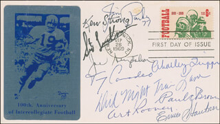 JOE STYDAHAR - FIRST DAY COVER SIGNED CO-SIGNED BY: CHARLEY TRIPPI, JIM PARKER, PAUL E. BROWN, RICHARD NIGHT TRAIN LANE, TONY CANADEO, ERNIE STAUTNER, KEN STRONG, ART ROONEY