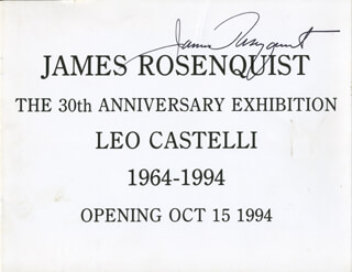 JAMES ROSENQUIST - PAMPHLET SIGNED CIRCA 1994