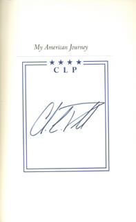 Autographs: GENERAL COLIN L. POWELL - BOOK PLATE SIGNED