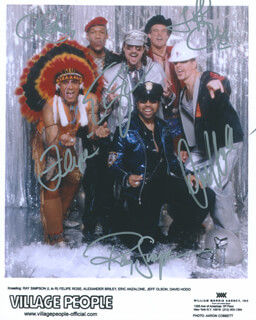 VILLAGE PEOPLE - AUTOGRAPHED SIGNED PHOTOGRAPH CO-SIGNED BY: VILLAGE PEOPLE (ALEX BRILEY), VILLAGE PEOPLE (JEFF OLSON), VILLAGE PEOPLE (FELIPE ROSE), VILLAGE PEOPLE (RAY SIMPSON), VILLAGE PEOPLE (DAVID HODO), VILLAGE PEOPLE (ERIC ANZALONE)
