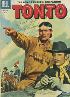 Autographs: JAY TONTO SILVERHEELS - COMIC BOOK SIGNED
