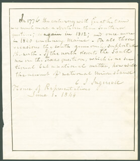 CHARLES JARED INGERSOLL - AUTOGRAPH STATEMENT SIGNED CIRCA 1844