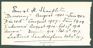 Autographs: ERNEST H. SHACKLETON - AUTOGRAPH NOTE SIGNED CIRCA 1917 CO-SIGNED BY: GENERAL DIGHTON PROBYN