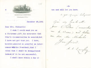SAMUEL P. LANGLEY - TYPED LETTER SIGNED 12/25/1901