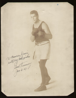 GENE TUNNEY - AUTOGRAPHED INSCRIBED PHOTOGRAPH 01/06/1927