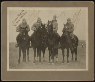 THE FOUR HORSEMEN - AUTOGRAPHED SIGNED PHOTOGRAPH CO-SIGNED BY: ELMER LAYDEN, HARRY A. STUHLDREHER, DON MILLER