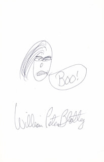 Autographs: WILLIAM PETER BLATTY - ORIGINAL ART SIGNED