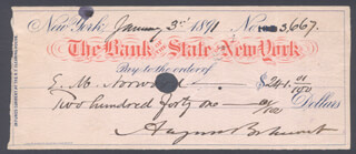 AUGUST BELMONT II - AUTOGRAPHED SIGNED CHECK 01/03/1891