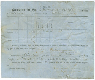 MAJOR GENERAL THOMAS C HINDMAN - RECEIPT SIGNED 10/24/1863