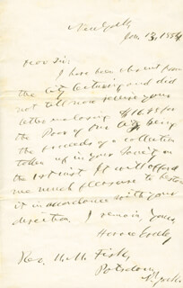 HORACE GREELEY - AUTOGRAPH LETTER SIGNED 01/13/1854