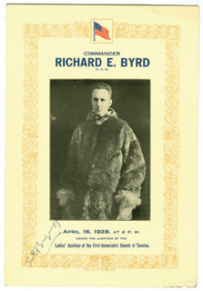 REAR ADMIRAL RICHARD E. BYRD - PROGRAM SIGNED CIRCA 1928