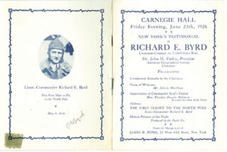 Autographs: REAR ADMIRAL RICHARD E. BYRD - PROGRAM SIGNED CIRCA 1926
