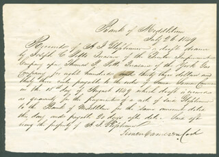 Autographs: SIMON CAMERON - AUTOGRAPH DOCUMENT SIGNED 07/26/1849