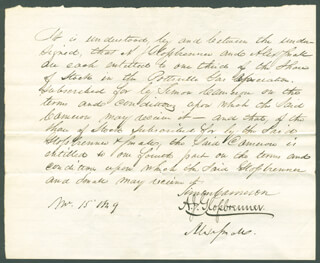 Autographs: SIMON CAMERON - AUTOGRAPH DOCUMENT SIGNED 11/15/1848 CO-SIGNED BY: ADAM JOHN GLOSSBRENNER, ALEXANDER SMALL