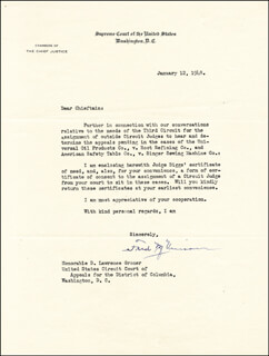 CHIEF JUSTICE FRED M. VINSON - TYPED LETTER SIGNED 01/12/1948
