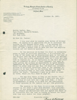 Autographs: FRANK B. KELLOGG - TYPED LETTER SIGNED 10/28/1931