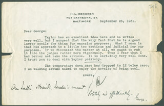 H. L. (HENRY LOUIS) MENCKEN - TYPED LETTER SIGNED 09/25/1931 CO-SIGNED BY: GEORGE JEAN NATHAN