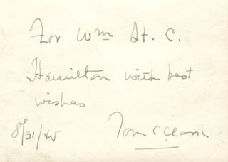 Autographs: ASSOCIATE JUSTICE TOM C. CLARK - AUTOGRAPH NOTE SIGNED 08/31/1945