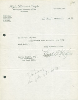 CHIEF JUSTICE CHARLES E HUGHES - TYPED LETTER SIGNED 02/17/1930
