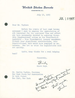 Autographs: BIRCH BAYH - TYPED LETTER SIGNED 07/14/1965
