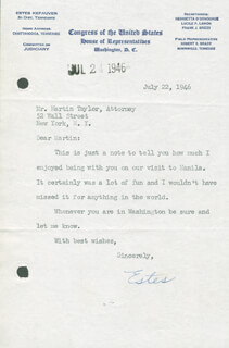 ESTES KEFAUVER - TYPED LETTER SIGNED 07/22/1946