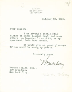 WILLIAM W. WHERRY JR. - TYPED LETTER SIGNED 10/18/1932