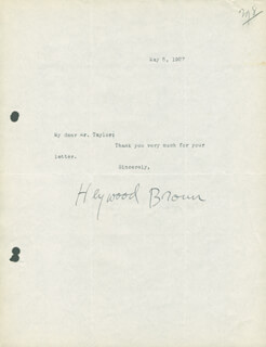 HEYWOOD C. BROUN - TYPED NOTE SIGNED 05/05/1927