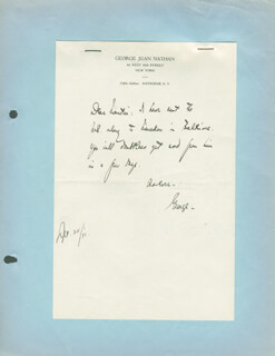 GEORGE JEAN NATHAN - AUTOGRAPH LETTER SIGNED CIRCA 1931