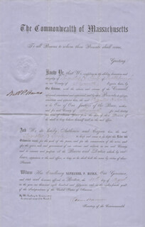 Autographs: MAJOR GENERAL NATHANIEL P. BANKS - CIVIL APPOINTMENT SIGNED 08/31/1859 CO-SIGNED BY: OLIVER WARNER