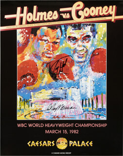LEROY NEIMAN - AUTOGRAPHED SIGNED POSTER CO-SIGNED BY: LARRY HOLMES