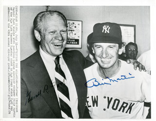 PRESIDENT GERALD R. FORD - PRINTED PHOTOGRAPH SIGNED IN INK CO-SIGNED BY: BILLY MARTIN