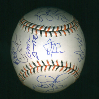 NATIONAL LEAGUE ALL-STARS - AUTOGRAPHED SIGNED BASEBALL CO-SIGNED BY: TONY LARUSSA, BARRY L. BONDS, CARLOS BELTRAN, MIGUEL CABRERA, ALBERT PUJOLS, MATT HOLLIDAY, JAKE PEAVY, CHRIS YOUNG, DAVID WRIGHT, PRINCE FIELDER, TAKASHI SAITO, CARLOS LEE, BRIAN MCCANN, COLE HAMELS, DMITRI YOUNG, ROY OSWALT, CHASE UTLEY, BRAD PENNY, BILLY WAGNER, BRANDON WEBB, J. J. HARDY