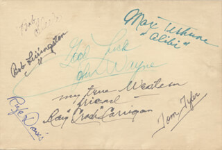 THREE MESQUITEERS MOVIE CAST - AUTOGRAPH CO-SIGNED BY: ROBERT LIVINGSTON, BOB STEELE, JOHN DUKE WAYNE, RAY CRASH CORRIGAN, RUFE DAVIS, MAX TERHUNE, TOM TYLER