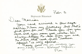 PRESIDENT RONALD REAGAN - AUTOGRAPH LETTER SIGNED 02/02