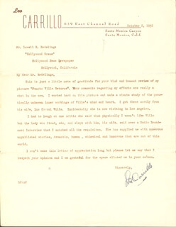 LEO PANCHO CARRILLO - TYPED LETTER SIGNED 10/02/1952