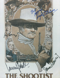 THE SHOOTIST MOVIE CAST - AUTOGRAPHED INSCRIBED PHOTOGRAPH CO-SIGNED BY: HUGH O'BRIAN, JAMES JIMMY STEWART, LAUREN BACALL, RON HOWARD