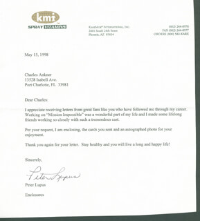 PETER LUPUS - TYPED LETTER SIGNED 05/15/1998