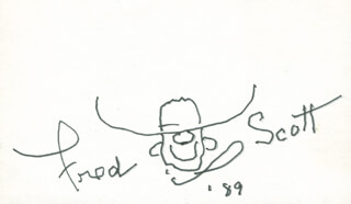 FRED L. THE SINGING BUCKAROO SCOTT - SELF-CARICATURE SIGNED 1989