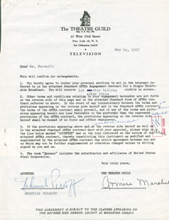 NEHEMIAH PERSOFF - CONTRACT SIGNED 05/14/1957 CO-SIGNED BY: ARMINA MARSHALL