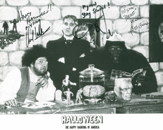 HALLOWEEN...THE HAPPY HAUNTING OF AMERICA! DOCUMENTARY CAST - AUTOGRAPHED INSCRIBED PHOTOGRAPH CO-SIGNED BY: BOB BURNS, DANIEL ROEBUCK, CHUCK WILLIAMS